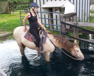 Judy is riding Carter into the water for a cool down. She is an owner/trainer and retired school teacher who loves to work with children.